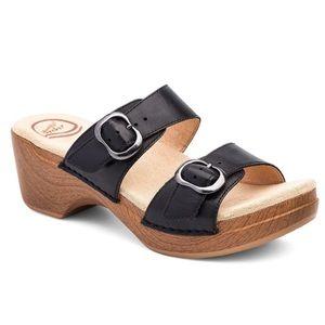 Dansko Sophie Black Leather Sandal Slide 36